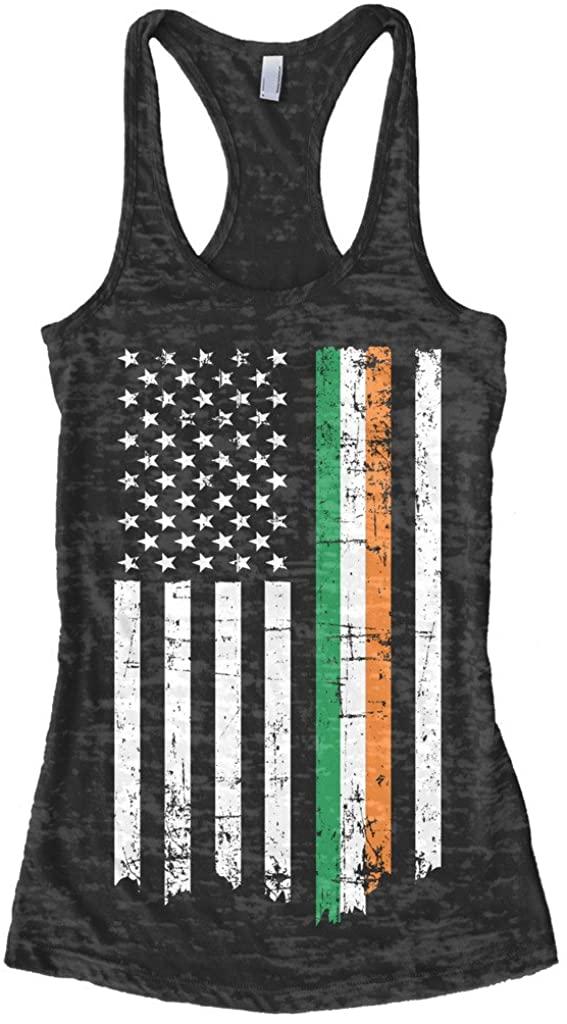 Threadrock Women's Irish American Flag Burnout Racerback Tank Top