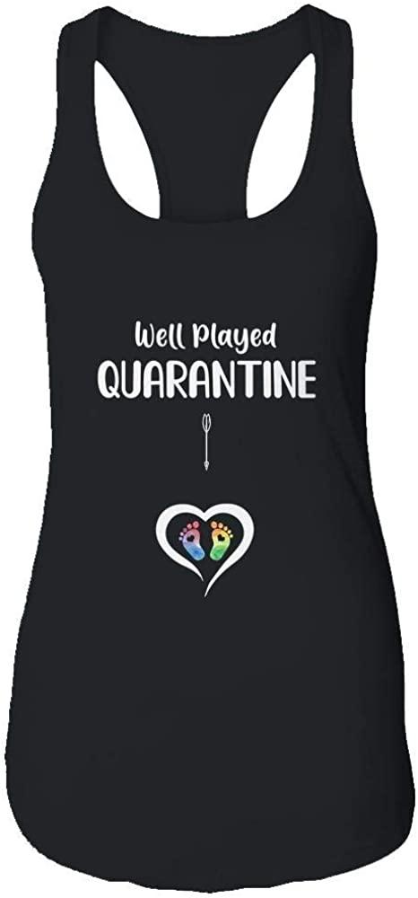 VintageTee Women's Well Played Quarantine Pregnancy Announcement Shirt Racerback Tank Top