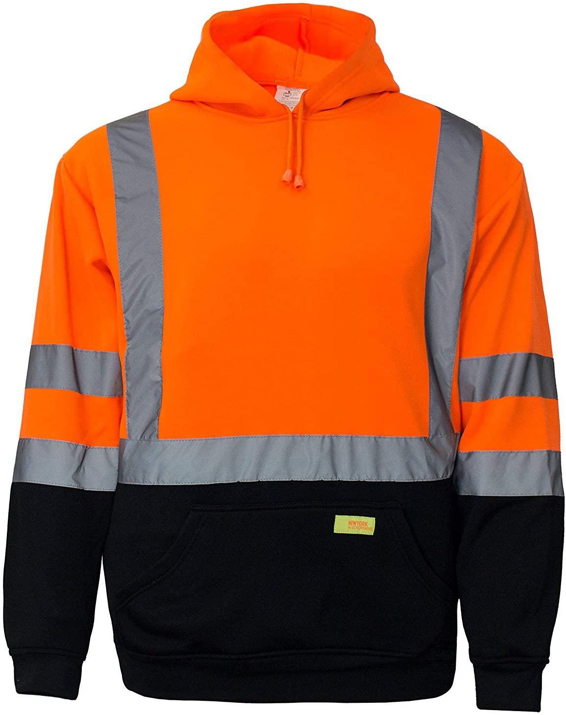 New York Hi-Viz Workwear H8311 Men's ANSI Class 3 High Visibility Class 3 Sweatshirt, Hooded Pullover, Knit Lining, Black Bottom (Orange, 4-XL)