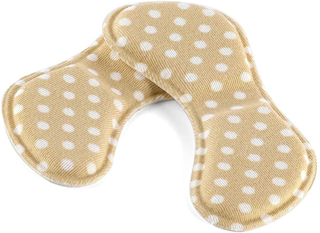 uxcell Elastic Self-adhesive Shoe Pads Anti Slip High Heel Insoles for Women Khaki 4 Pairs