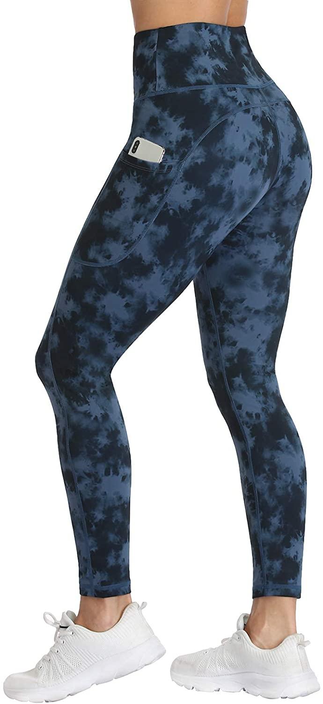 UURUN High Waist Yoga Pants Printed Workout Running Tie Dye Leggings with Pockets - Non-See-Through Fabric