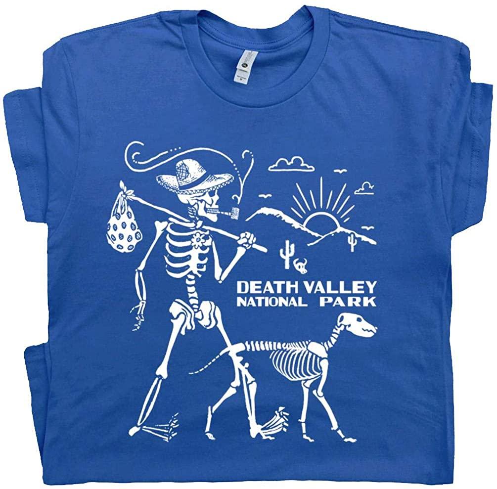 Death Valley T Shirt Hiking Skeleton Tee National Park Hiker Yellowstone Yosemite Joshua Tree Appalachian Trail