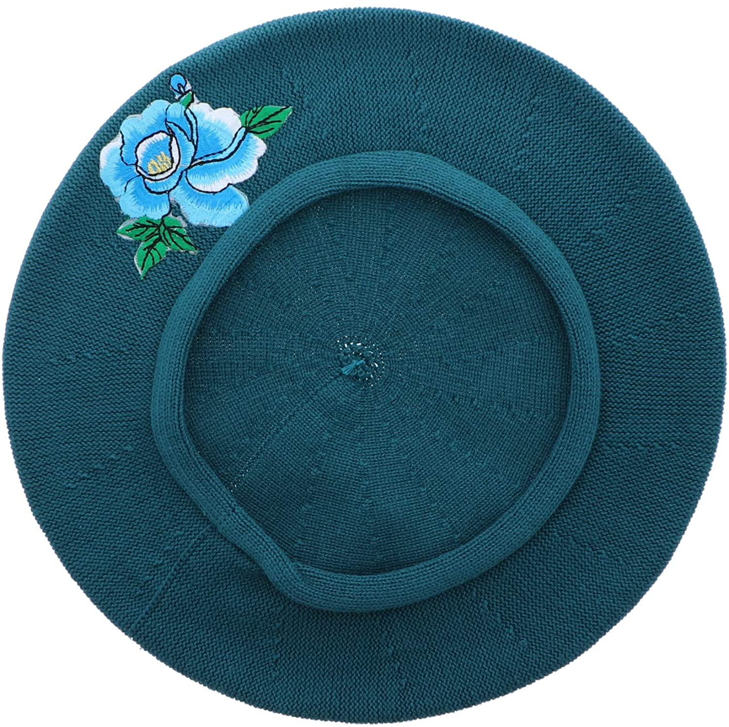 Blue Flower with Leaves Applique on Cotton Beret Womens Head Cover