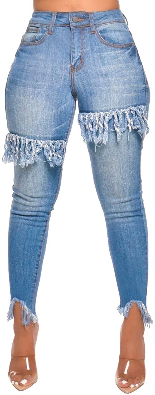 TodTan Women's High Waisted Jeans Casual Skinny Tassels Frayed Raw Hem Denim Jeans