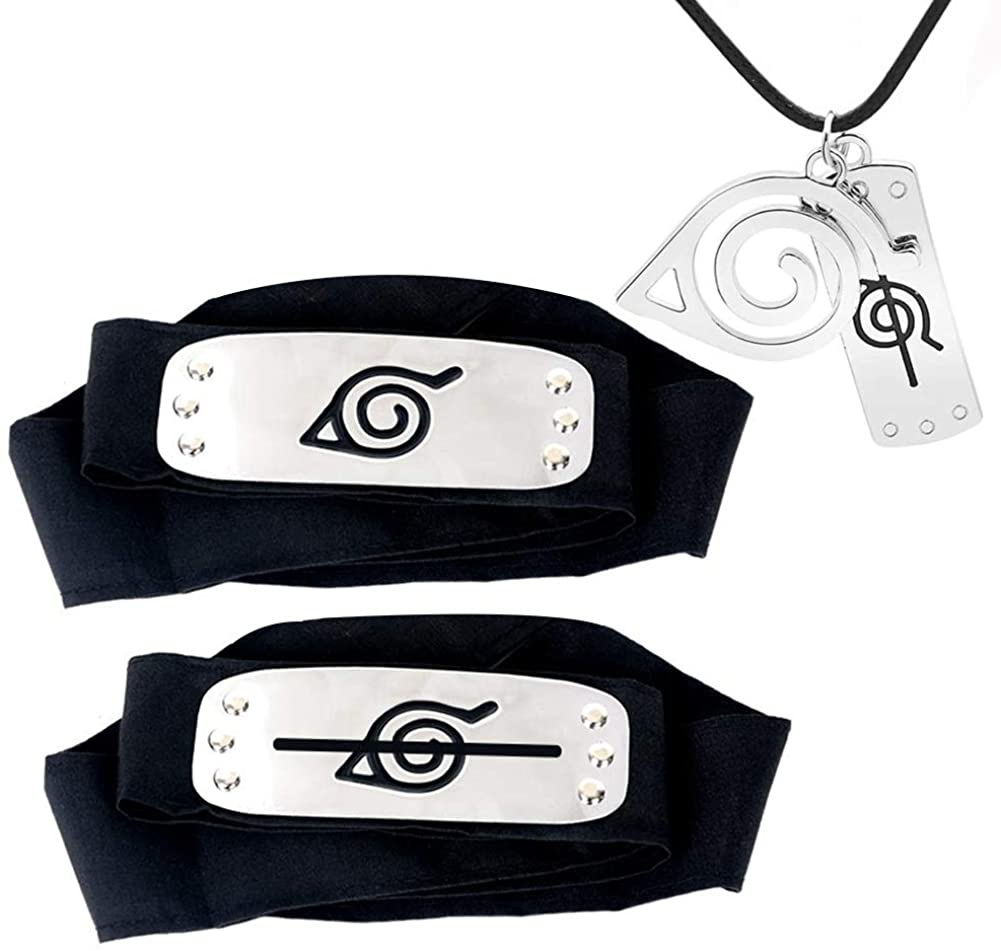 2 Pack Naruto Leaf Village Headband, 1 pack necklace, Good Decoration for children baby birthday party favor