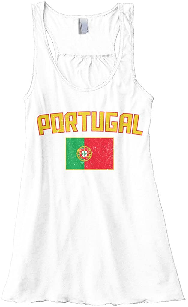Threadrock Women's Portugal Flag Flowy Racerback Tank Top