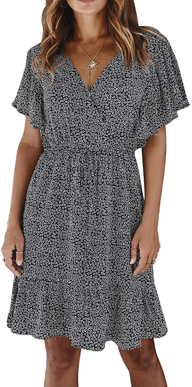 Women's Floral Print Front Cross Deep V-Neck Flare Sleeve Loose Short Mini Dress Bohemian Summer Dresses for Women