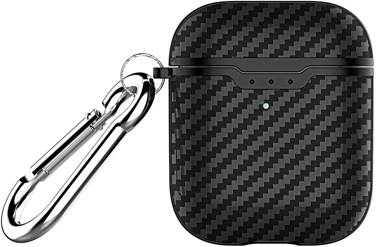 Xuyoz Case for Airpods, Cute Carbon Fiber Texture AirPods Protective Cases Shockproof Skin Cover for Men Women Compatible with AirPods 1&2 Charging Case with Keychain [Front LED Visible], Black