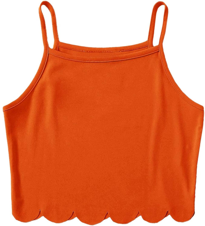 Milumia Women Scallop Hem Crop Cami Tank Summer Sleeveless Casual Tees Tops