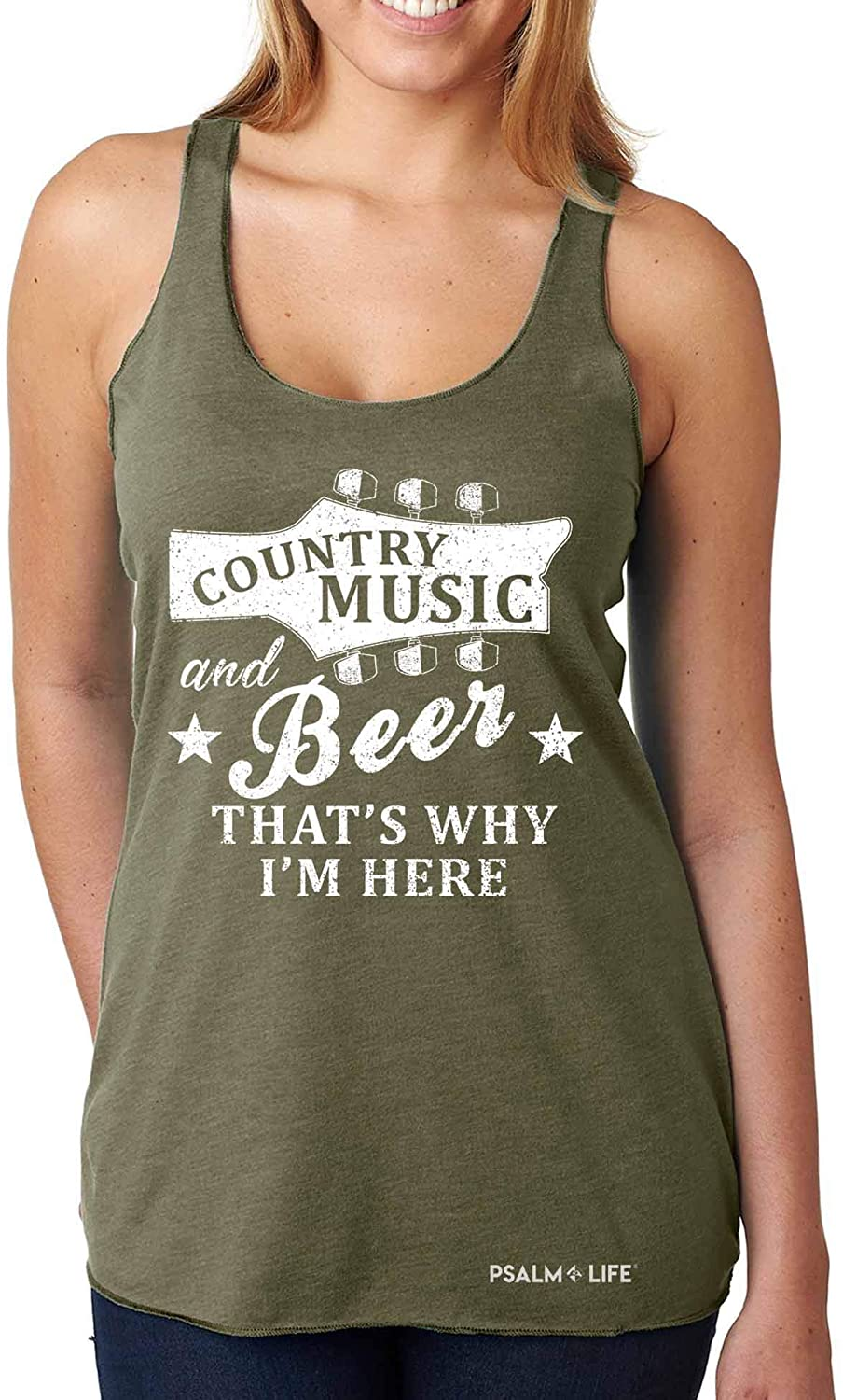 Psalm Life Country Music & Beer Festival Summer Racerback Tank – Cute Vintage Women's Top