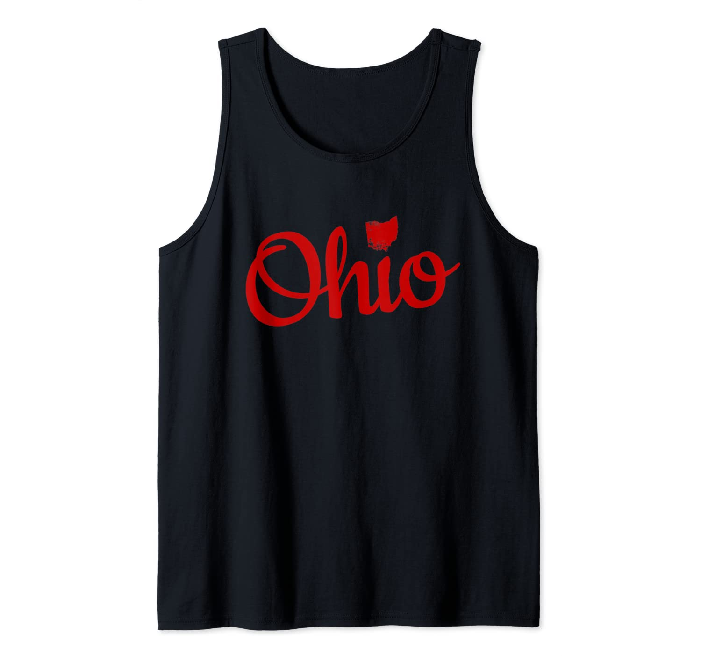 Cute Ohio Red Script OH Map Love Home Buckeye State Tank Top