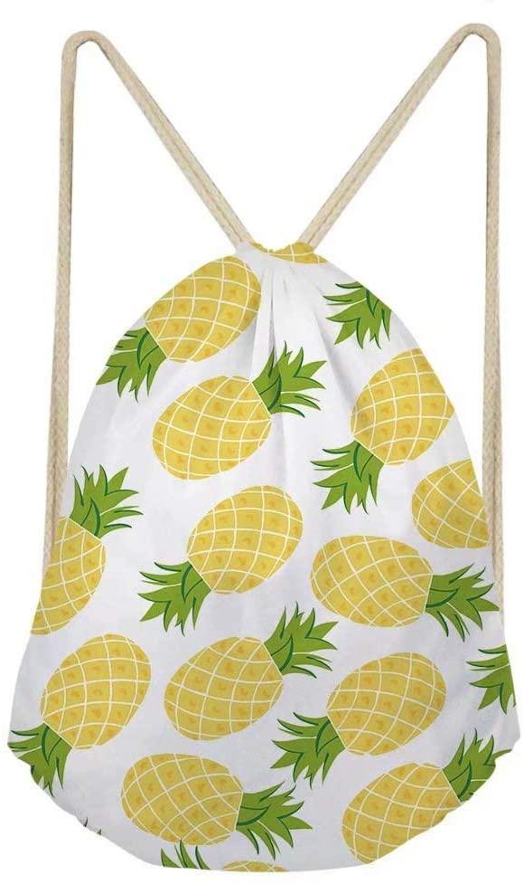 Dellukee Gym Sack Bag Teens Pineapple Printed Children Trip Sport Drawstring Backpacks