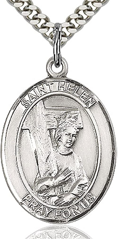 Heartland Men's Sterling Silver Saint Helen Oval Medal USA Made + Chain Choice