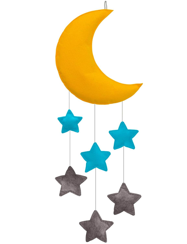Baby Crib Mobiles Felt Moon for Children Star Boys Girls Babies Bed Room Designer Colors to Match Nursery Delight (Z-Moon)