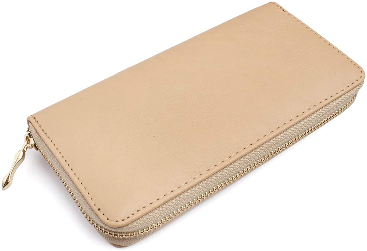 Classic Leatherette Zip Around Wallet - Vegan Leather Zipper Clutch Purse Coin Card Slots, Removable Wristlet