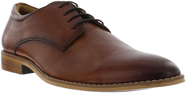 Giorgio Brutini Coolidge Black & Brown Oxford Dress Shoes for Men, Plain Toe Leather Shoe