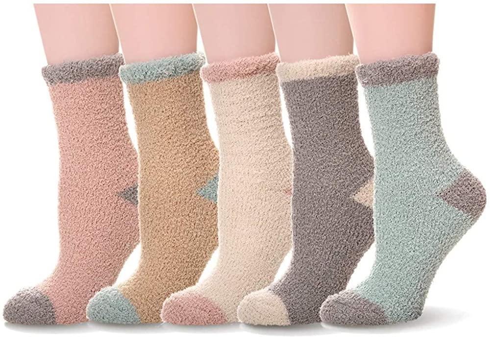 LERTREE Womens Fuzzy Slipper Socks Soft Cozy Fluffy Winter Warm Slipper Socks For Ladies Girls