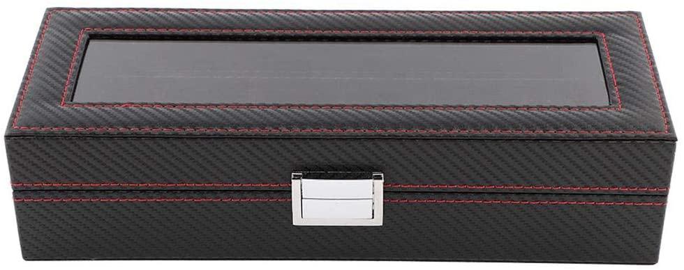 BTIHCEUOT Watch Box Organizer,6 Slot Watch Box Travel Carbon Fiber Case Jewelry Display Storage Collector Organizer
