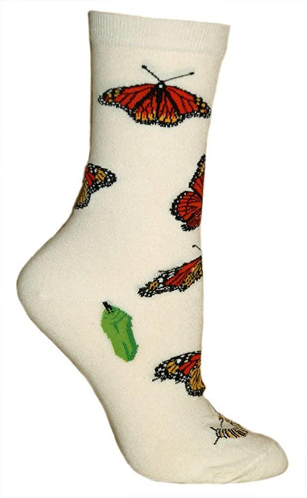 Monarch Butterflies Tan Ultra Lightweight Cotton Crew Socks - Made in USA