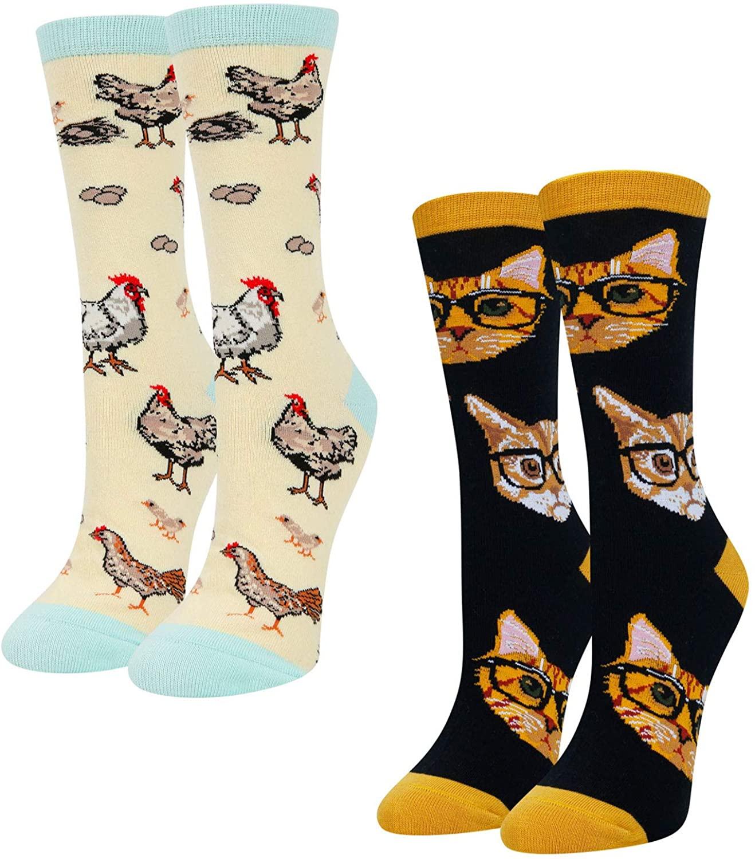 HAPPYPOP Cat Dog Bee Socks for Women Girls, Funny Animal Lovers Gift Chicken Sloth Unicorn Otter Socks
