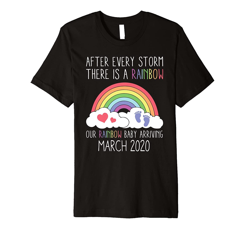 Rainbow Baby Arriving March 2020 Pregnancy Announcement Gift Premium T-Shirt