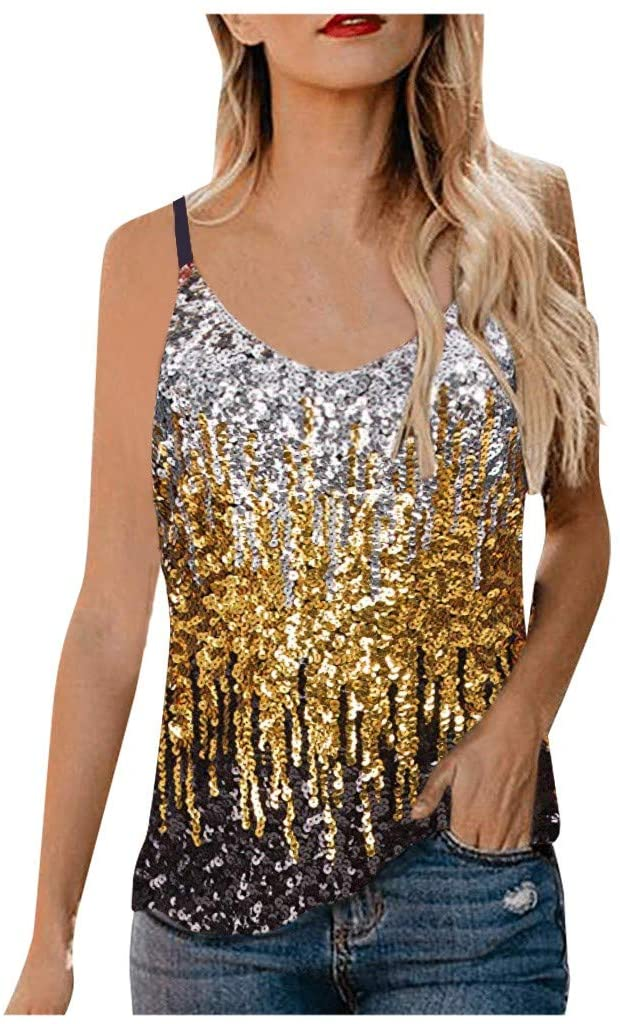 Fineday Women Tops and Blouses, Women's Sequin Tops Glitter Party Strappy Tank Vest Camis, Tops for Women