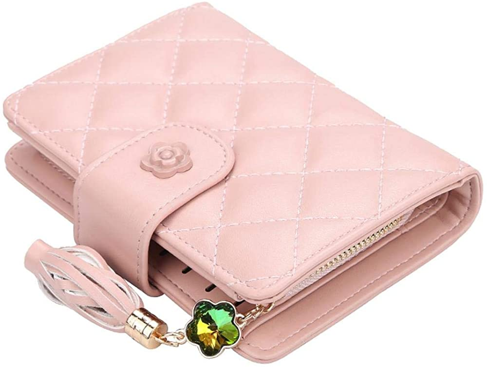 Women Bifold Leather Wallet Nlocking Ladies With Card Holder Window Coin Purse