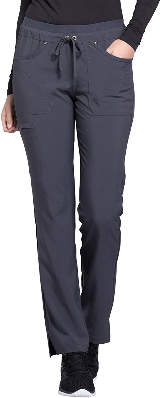 CHEROKEE iflex Mid Rise Tapered Leg Drawstring Pants, CK010, L, Pewter