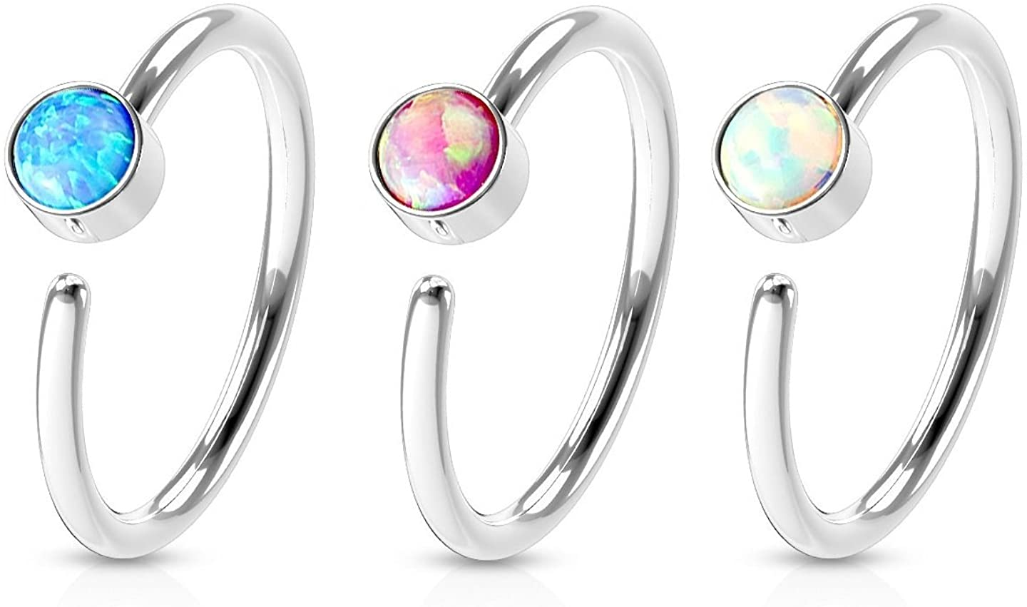 Set of 3 Surgical Steel Opal Set Hoop Rings - Perfect for Nose and Ear Piercings!