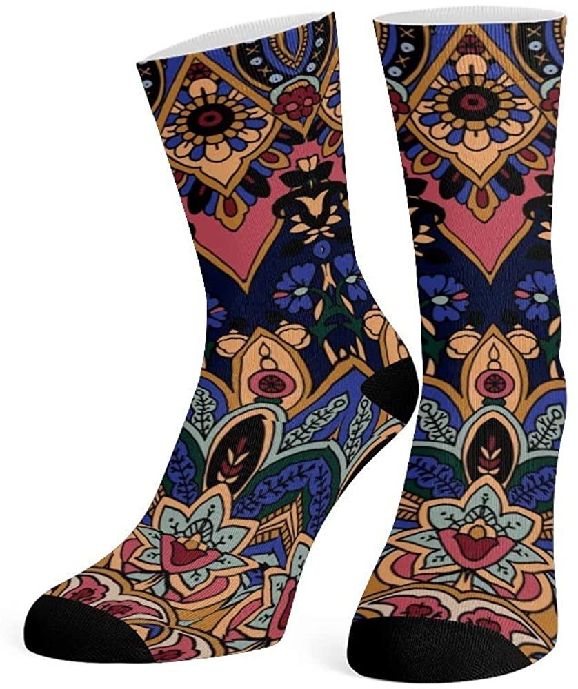 XOZOTY Custom Funny Novelty Boho Mandala FLoral Blossom Crew Socks for Mens Womens