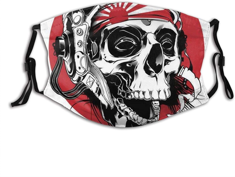 Japanese Flag Sugar Skull Funny Face Mask With Filter Pocket Washable Reusable Face Bandanas Balaclava With 2 Pcs Filters