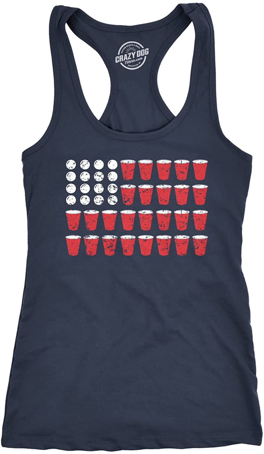 Womens Tank American Flag Beer Pong Tanktop Funny Fourth of July Drinking Tee for Ladies