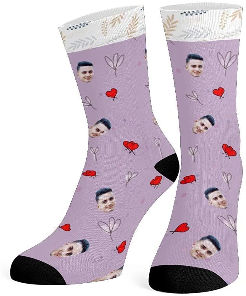 Custom Face Socks with Photo Personalized Print Lover Crew Socks for Men Women