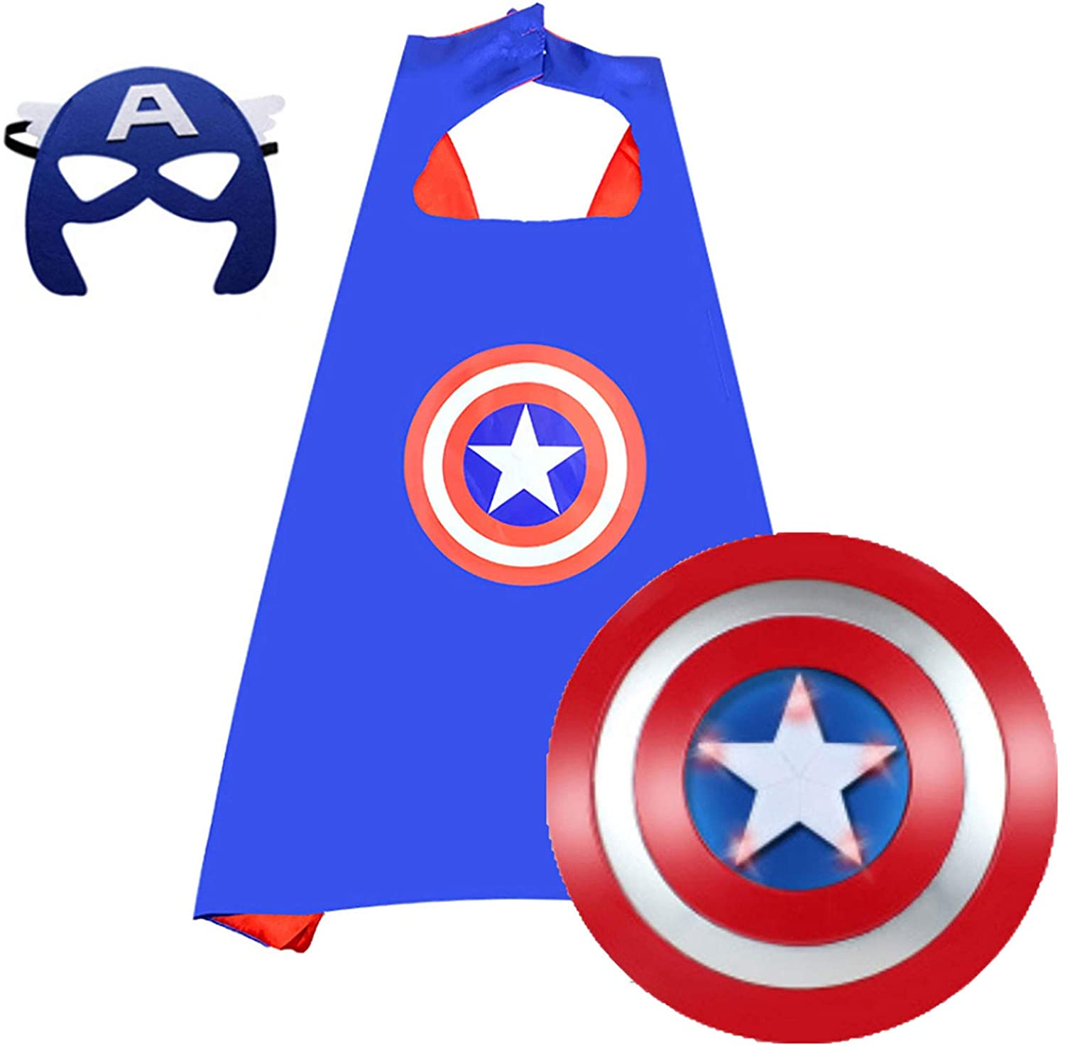 Captain America Shield Cape and Mask Set Kids Avengers Cosplay Toys Superhero Dress Up Costumes for Boys