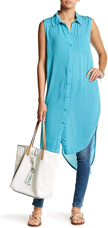 Green Dragon Sleeveless Long Line Shirt Vest for Women in Turqoise, Medium