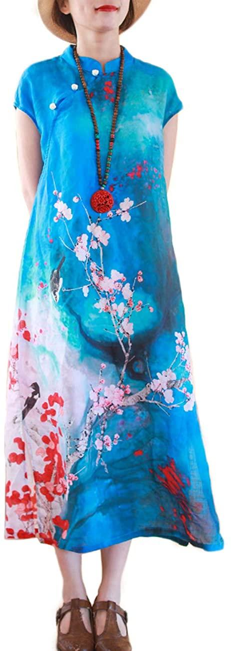 LZJN Women Chinese Style Cheongsam Dress Elegant Floral Print Dress Short Sleeve