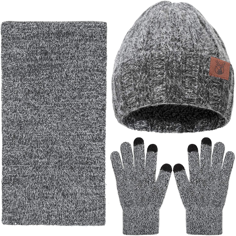yeabiu 3 PCS Winter Scarf Glove Hat Beanie Set Touch Screen Gloves Knitted Cap Set for Men Women