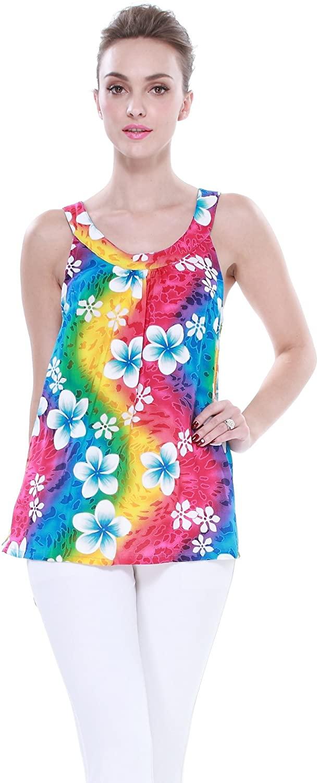 Aloha Fashion Women's Hawaiian Floral Tank Top in Rainbow Floral