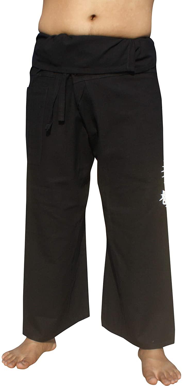 RaanPahMuang Warm Cotton Fisherman Wrap Pants Screen Print Fire Dragon Plus Size