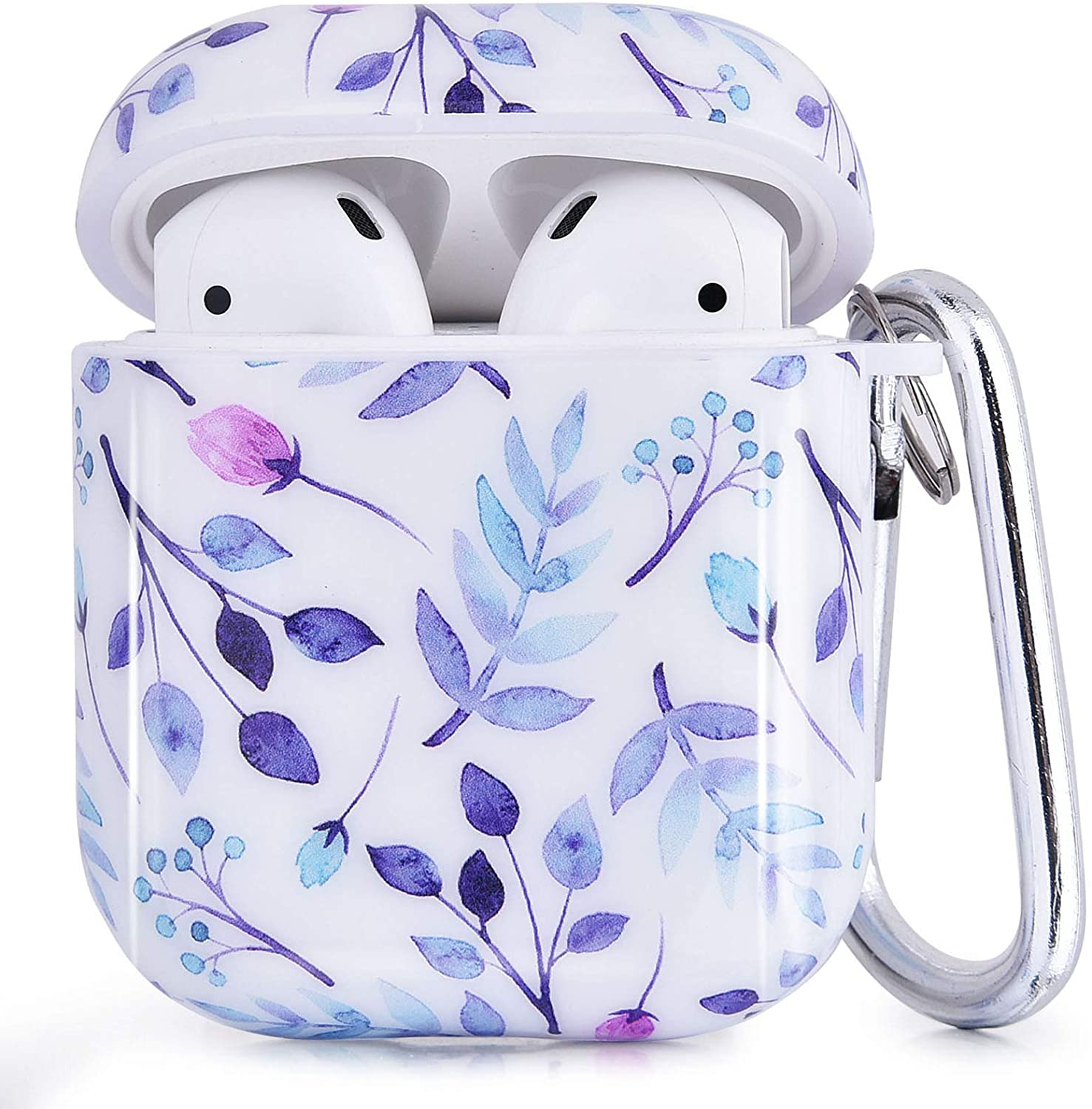 CAGOS Compatible with Airpods Case, 3 in 1 TPU Hard Airpods Accessories Protective Case Cover Portable & Shockproof for Apple Airpods 2 & 1 Charging Case (Purple Bamboo)
