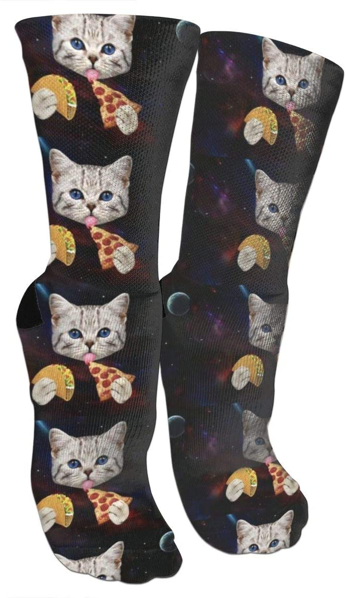 antspuent Space Cat with Taco and Pizza Compression Socks Unisex Fun Novelty Crazy Dress Crew Socks