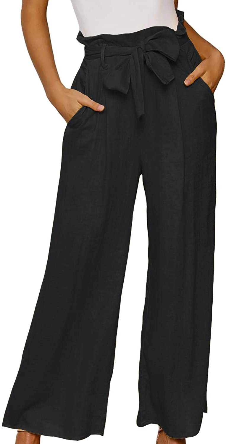 ReachMe Womens Casual Wide Leg Paperbag Waist Pants with Pockets Ruffle High Waisted Pants with Tie Belt