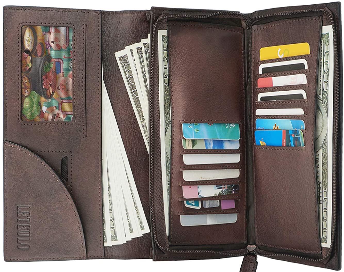 Womens Wallet Genuine Leather Dip Dye Card Organizer Ladies Purse Large Capacity Clutch