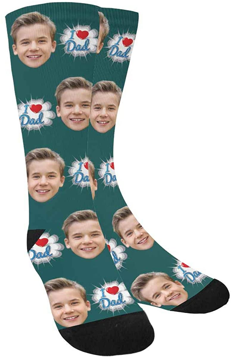 Custom I Heart Dad Crew Socks with Picture for Men Dad Father's Day