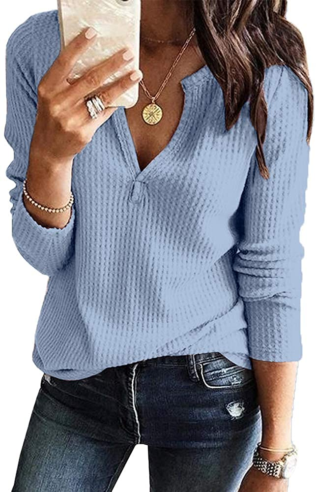 Chellysun Womens Long Sleeve V Neck Henley Sweater Shirt Waffle Knit Casual Loose Plain Pullover Jumpers Blue