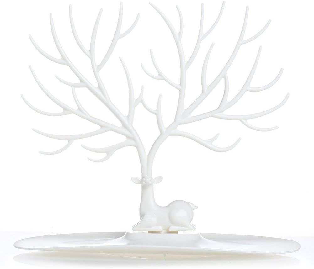 FABSELLER Jewelry Stand Necklace Earrings Rings Bracelets Tree Shape Display Stand Jewelry Display Organizer Holder Jewelry Storage, White