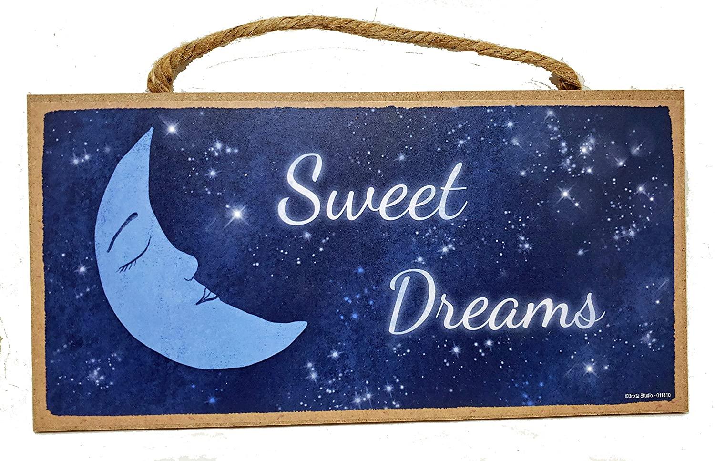 Brixta Studio Sweet Dreams Crescent Moon Wall Decor for Bedroom - Hanging Wooden Sign - 10 x 5 Inches