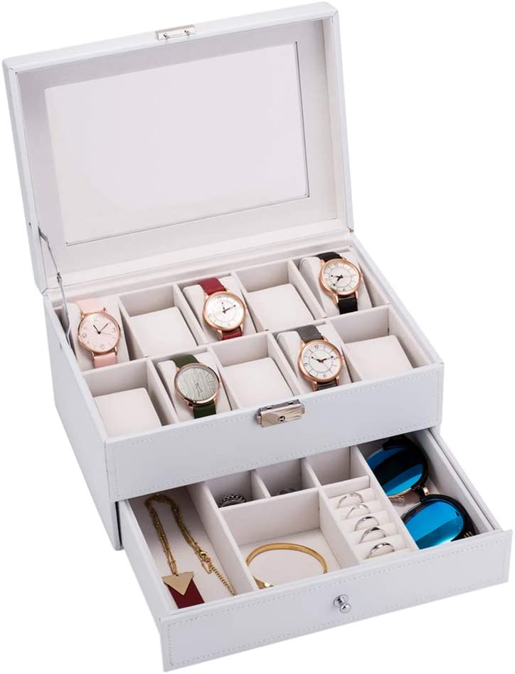 Watch Box with Valet Drawer, 10 Slots Men's Lockable Watch Case Organizer & Jewelry Glasses Display Drawer, Metal Hinge Black Leather Glass Top Large Holder (White)