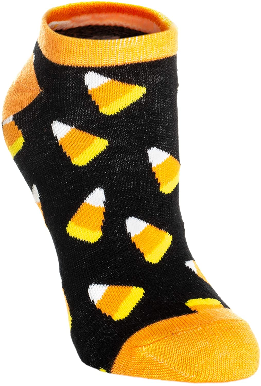 Candy Corn Patterned Women's One Size Polyester Stretch Halloween Ankle Socks