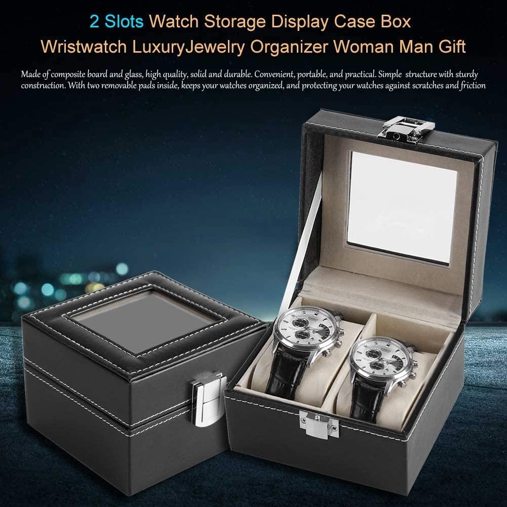 Watch Display Case, 2 Slots Watch Storage Display Case Box Wristwatch Luxury Jewelry Organizer Woman Man Gift Storage Boxes Watch Display Box